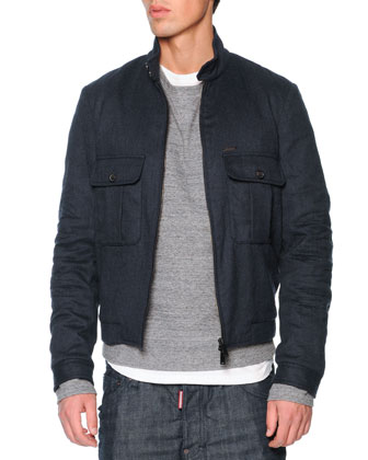 Wool-Flannel Bomber Jacket, Navy