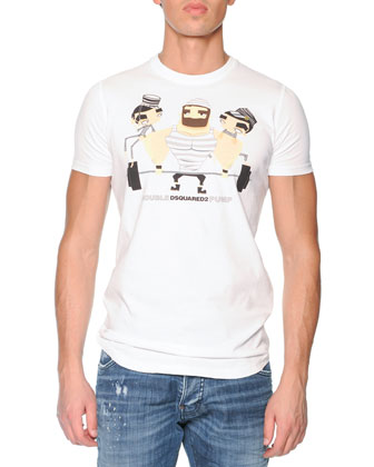 Weight Lifter-Print Tee, White