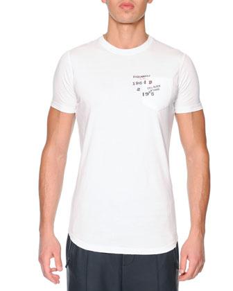 Logo-Pocket Jersey Tee, White