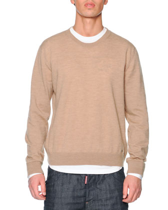Crewneck Virgin Wool-Blend Sweater, Camel