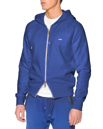 Two-Way Zip Hoodie, Blue