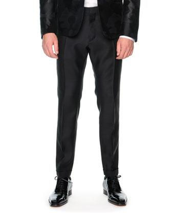 Satin and Wool Dress Pants, Black