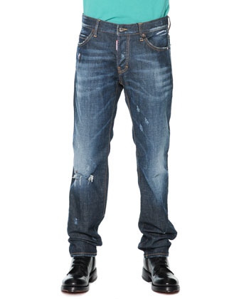 Zip-Pocket Distressed Denim Jeans, Blue
