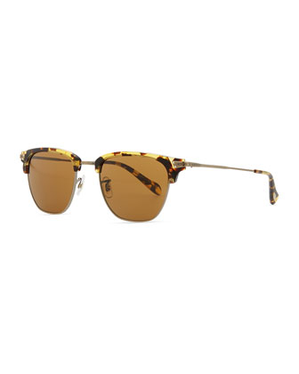 Men's Banks Half-Rim Sunglasses, Dark Brown