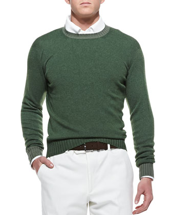 Baby Cashmere Crewneck Sweater, Green