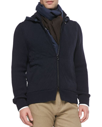 Quilted Cashmere Bomber Jacket