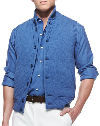 Cashmere Quilted-Diamond Vest, Blue