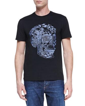 Floral-Skull-Print Jersey Tee, Black