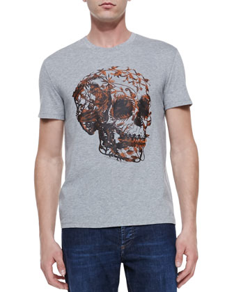 Floral-Skull-Print Jersey Tee, Gray
