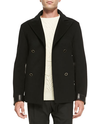 Wool/Cashmere Peacoat with Leather-Detail, Black
