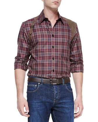Plaid Leather-Harness Shirt, Bordeaux