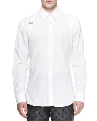 Long-Sleeve Harness Shirt, White