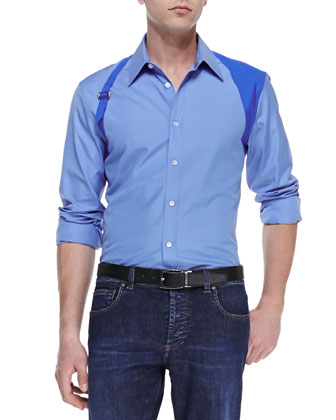 Contrast Harness Shirt, Blue