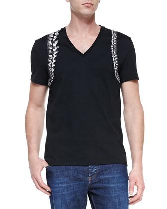 Skeleton-Harness V-Neck Tee, Black