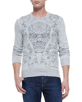 Embroidered-Skull Knit Sweatshirt, Gray