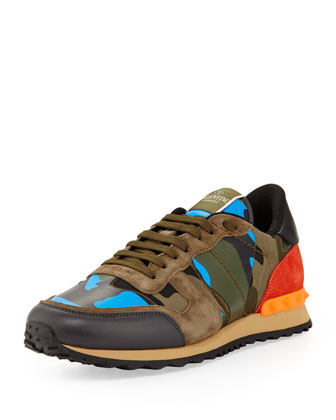 Men's Rockrunner Camo Sneaker, Blue/Orange