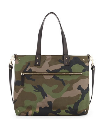 Reversible Camouflage Nylon Tote Bag, Blue/Green