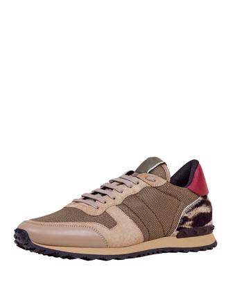 Rockrunner Mesh Sneaker with Leopard-Print Heel, Multi
