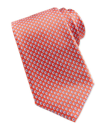 Circle-Print Silk Tie, Orange
