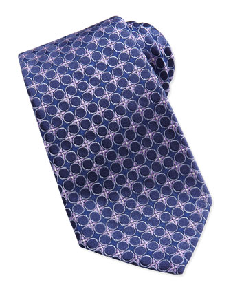 Circle Flower Silk Tie, Purple
