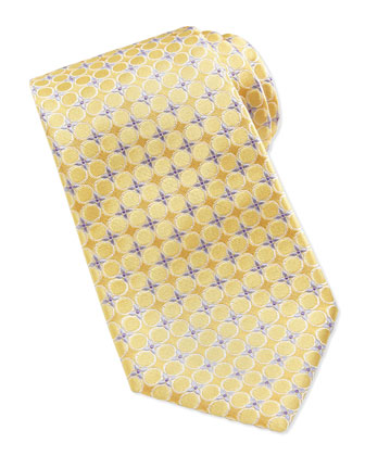 Circle-Floral Silk Tie, Yellow
