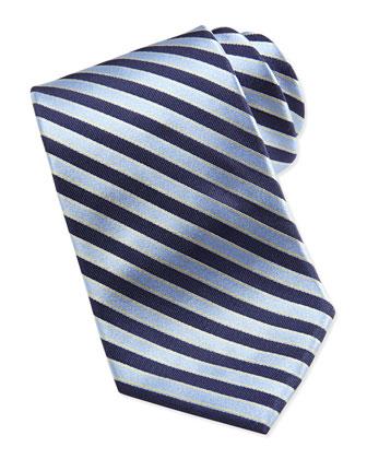 Woven Stripe Silk Tie, Blue