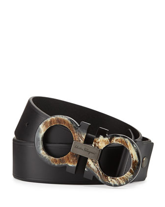 Horn-Gancini Leather Belt, Black