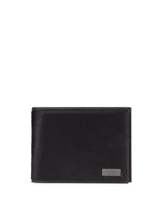 Luxor Pony Bifold Calf Hair Wallet, Black