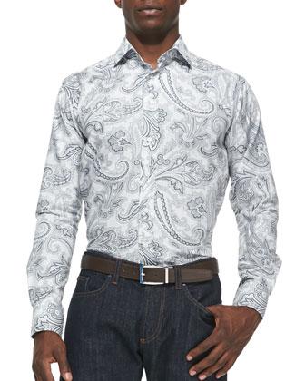 Paisley-Print Sport Shirt, White/Gray