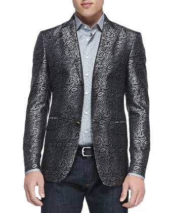 Paisley Jacquard Evening Jacket, Gray/Black