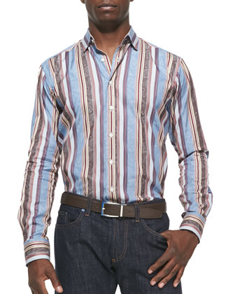 Stripe with Tonal-Paisley Sport Shirt, Blue/Burgundy