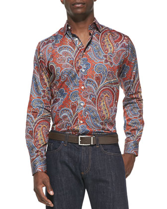 Large-Paisley-Print Sport Shirt, Orange Multi
