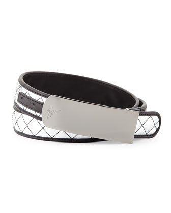 Men's Mirrored Quilted Plaque Belt, Silver