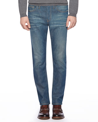 Stone Washed Skinny Stretch-Denim Jeans