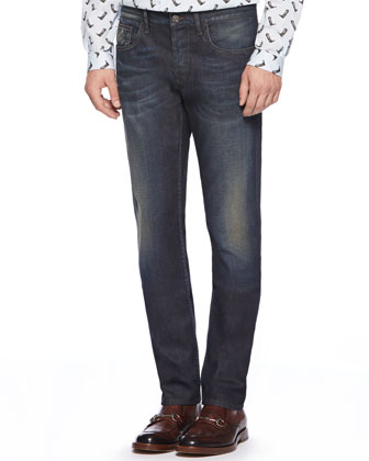 Stone Washed Resin Coated Denim Jeans