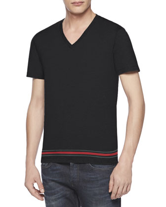 Jersey Web V-Neck Tee, Black
