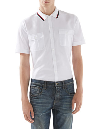 Cotton-Jersey Polo Tee, White