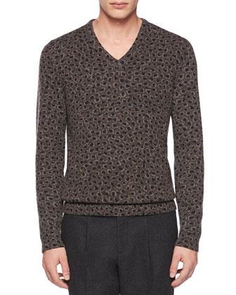 Leopard-Print Knit V-Neck Sweater