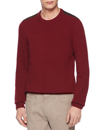 Wool and Cashmere Crewneck Sweater, Camel