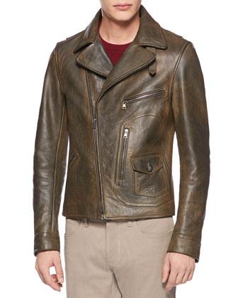 Vintage Calf Leather Biker Jacket, Sorrel