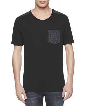 Leopard-Print Jersey Tee, Black