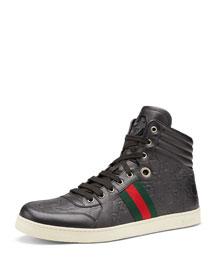 Coda Guccissima High-Top Sneaker, Gray