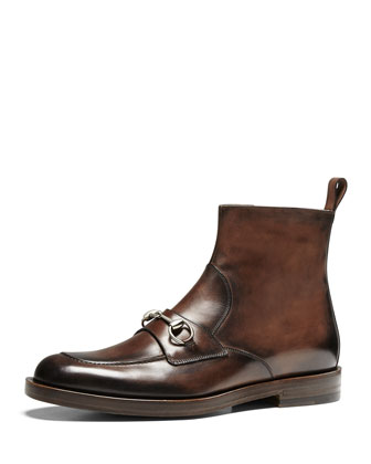 Leather Horsebit Boot, Cocoa