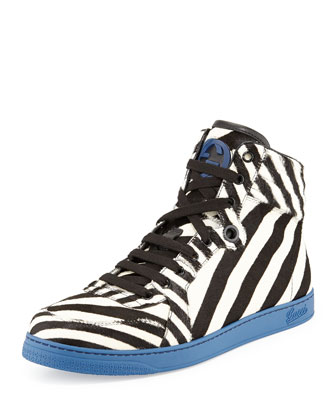 Zebra-Print Calf Hair High-Top Sneaker