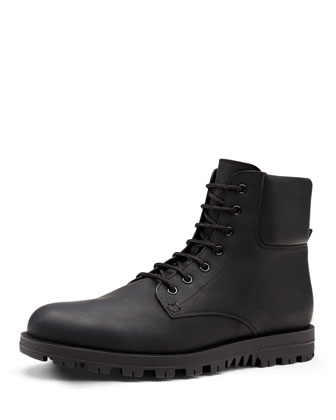 Rubberized Leather Boot, Black