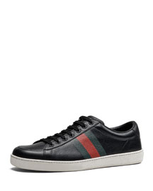 Perforated Leather Web Sneaker, Black