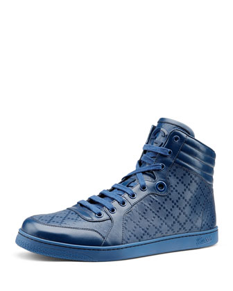 Diamante Leather High-Top Sneaker, Blue