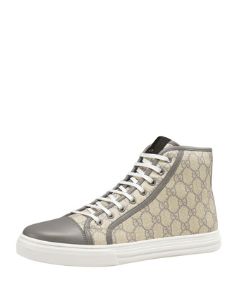 GG Supreme Canvas Lace-Up Sneaker, Gray