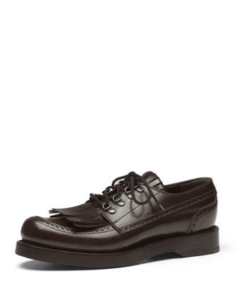 Fringed Brogue Lace-Up Shoe, Brown