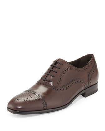 Pinto Medallion Cap-Toe Oxford, Brown